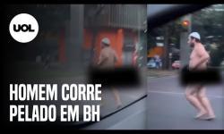 ASSISTA: Homem é visto correndo nu e sem máscara em rua de bairro nobre