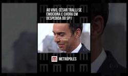 Vídeo ao vivo mostra César Tralli chorando após se emocionar em despedida de telejornal