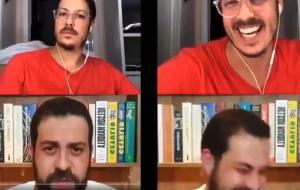 Esposa de Porchat aparece nua em live do apresentador com Boulos