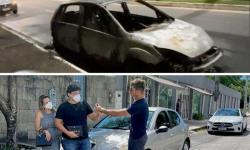VÍDEO: Digital Influencer ajuda família que teve o carro destruído pelo fogo, em João Pessoa