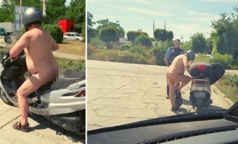 Homem é flagrado andando de moto completamente pelado: 'Tá calor, né?'