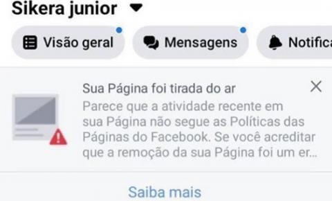 Facebook exclui página oficial de Sikêra Jr