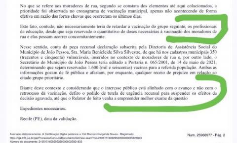 Justiça acata recurso da prefeitura e autoriza vacinação de profissionais da educação em João Pessoa