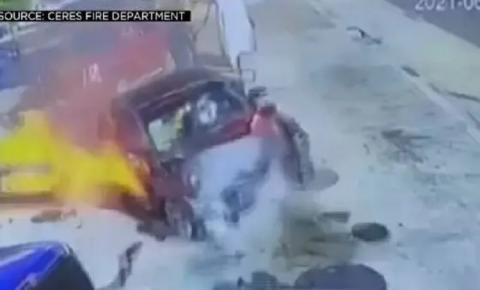 Mulher bêbada acerta bomba de combustível em alta velocidade; veja vídeo