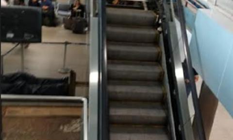 Passageiros denunciam abandono do Aeroporto Castro Pinto: 'escada rolante está quebrada há meses'