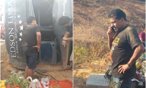 Ônibus da banda Gatinha Manhosa tomba, deixa um morto e Edson Lima publica vídeo; assista