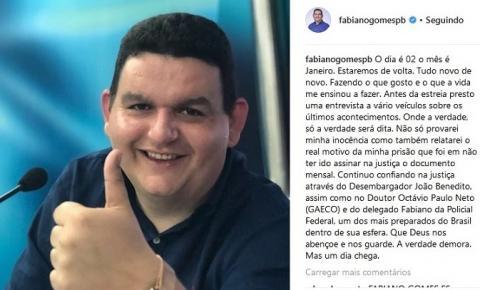 'TUDO NOVO DE NOVO': Fabiano Gomes anuncia retorno 'ao ar' em janeiro e diz que vai provar inocência – VEJA O POST